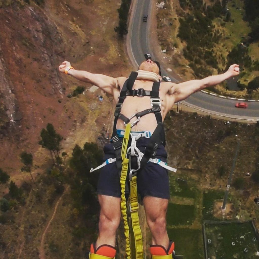 Photo by: @jamie_roberts2. Bungee jumping in Cusco