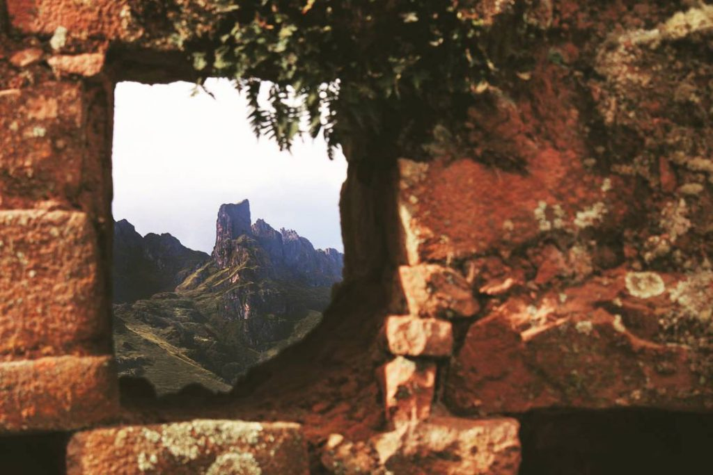 Mountain through a window in Huchuy Qosqo