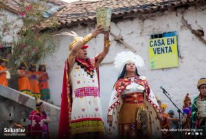 Inca couple in ceremony to Pachamama