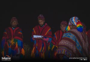 Andean people in ceremony to Pachamama