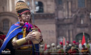 Andean man in Warachikuy ceremony