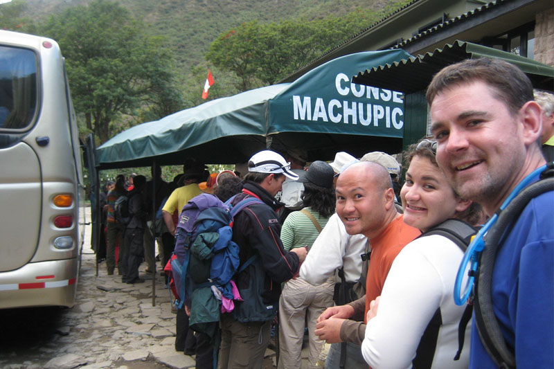 People making a line at Machu Picchu