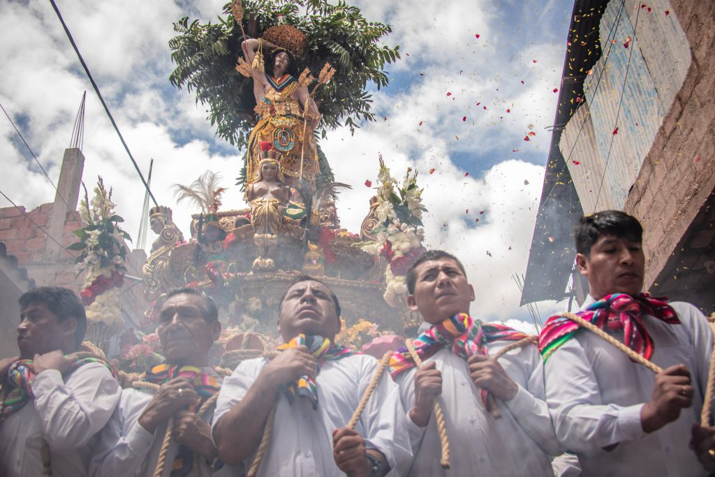 Saint Sebastian procession in San Sebastian Cusco