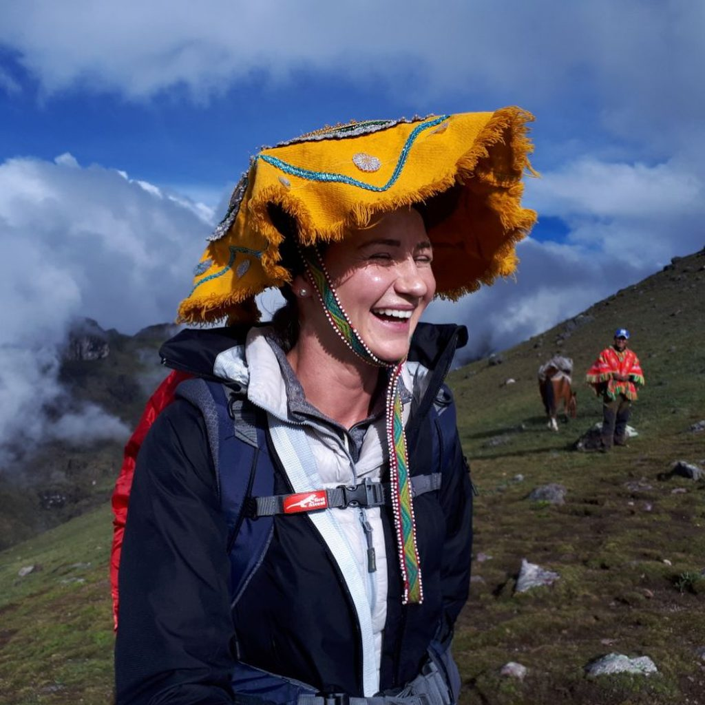 Woman laughing on the Lares trail