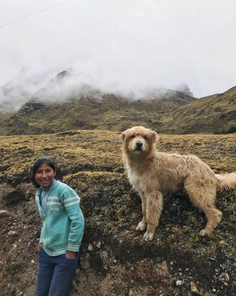 Girl and dog on Lares trail