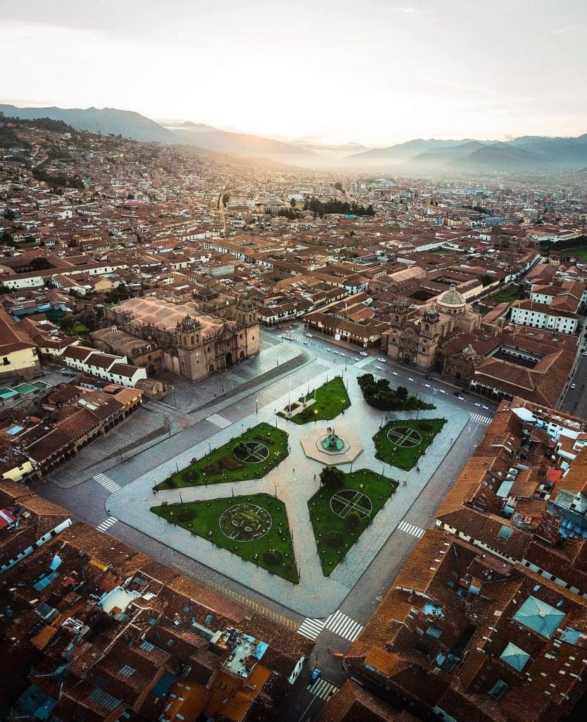 Aerial view of Cusco's main square