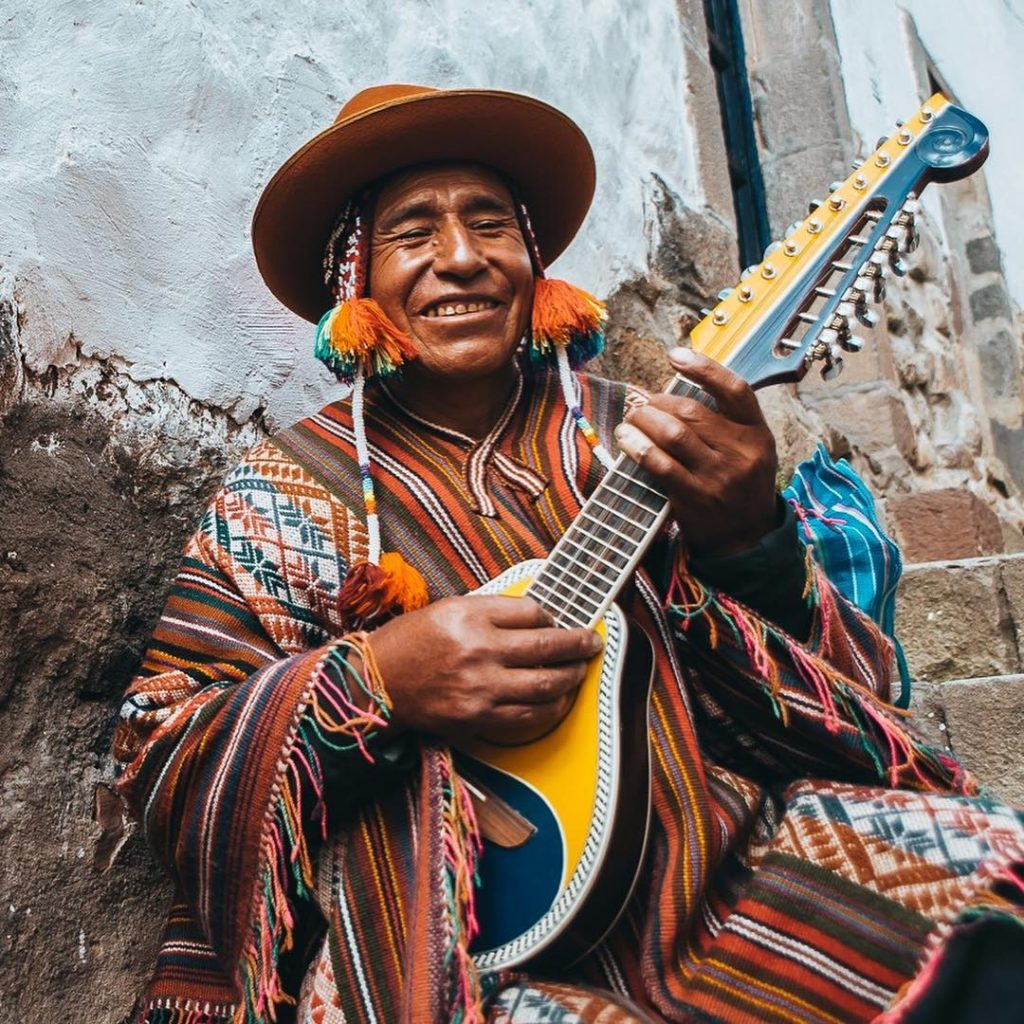 Traditional musician holding a bandurria