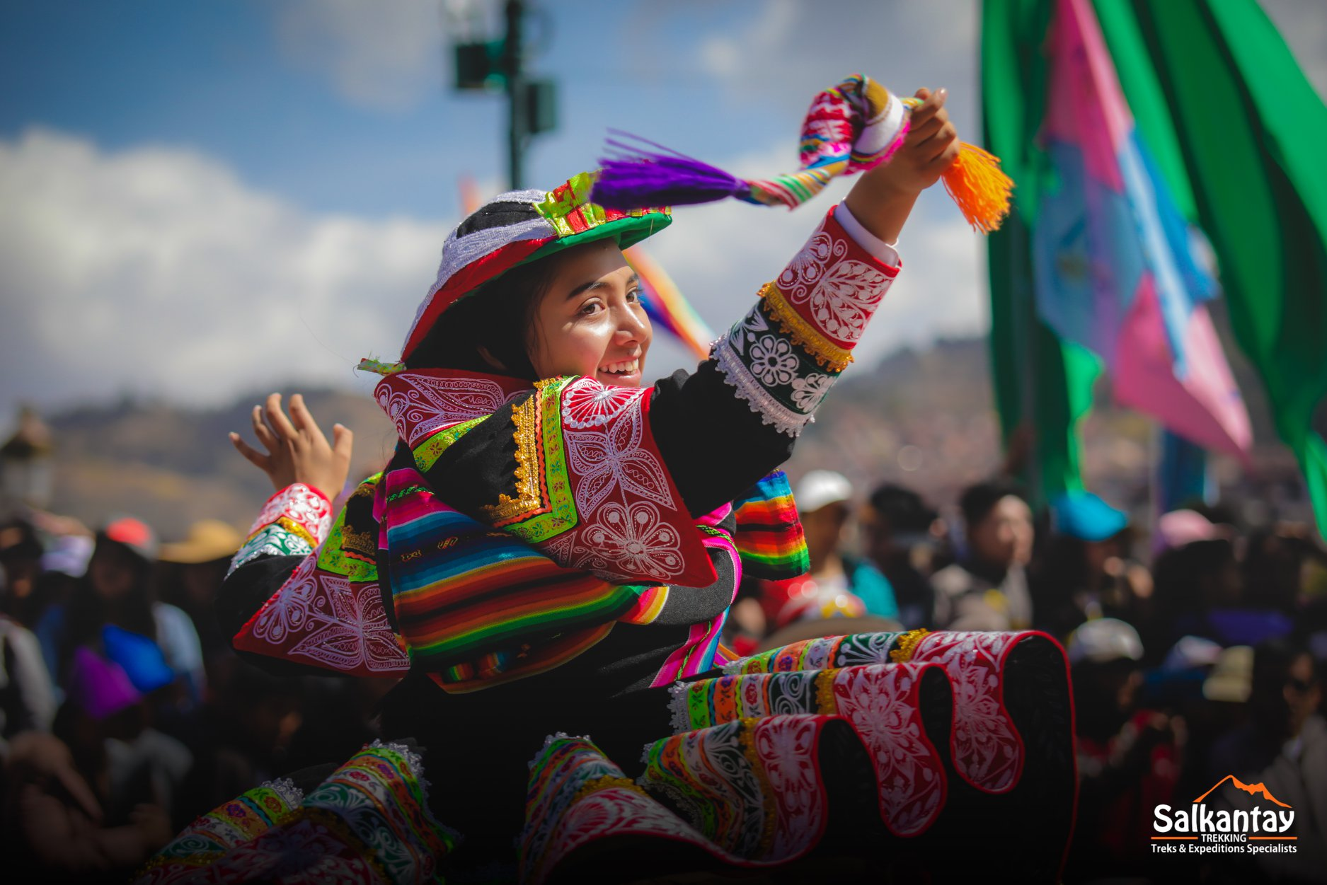 The colorful outfits of Cusco during the traditional dance