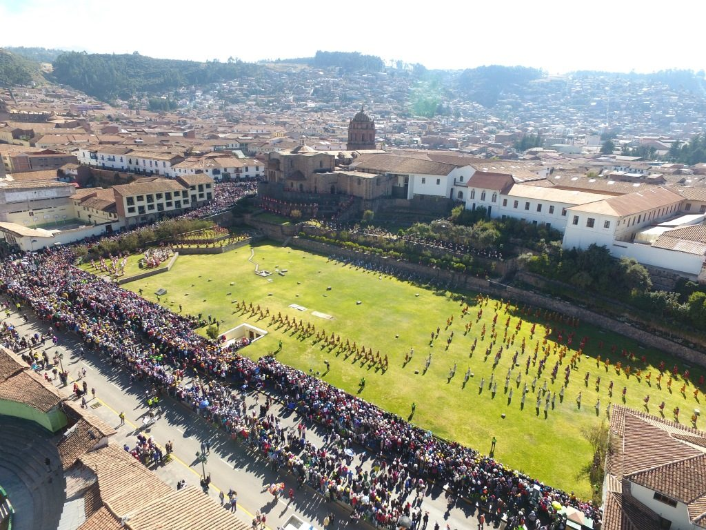 Aereal view of Qorikancha temple in Cusco