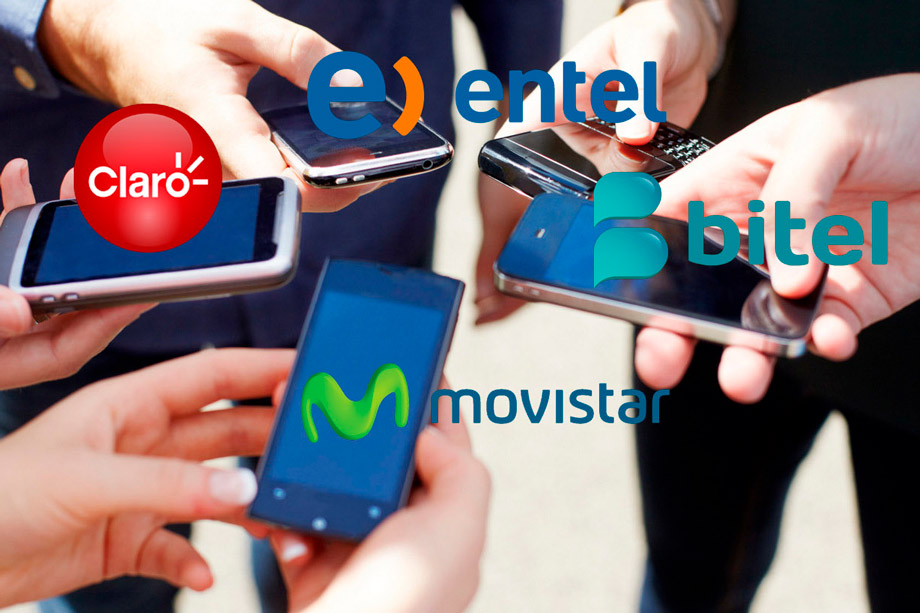 They are cheap: Claro, Movistar, Entel, and Bitel.
