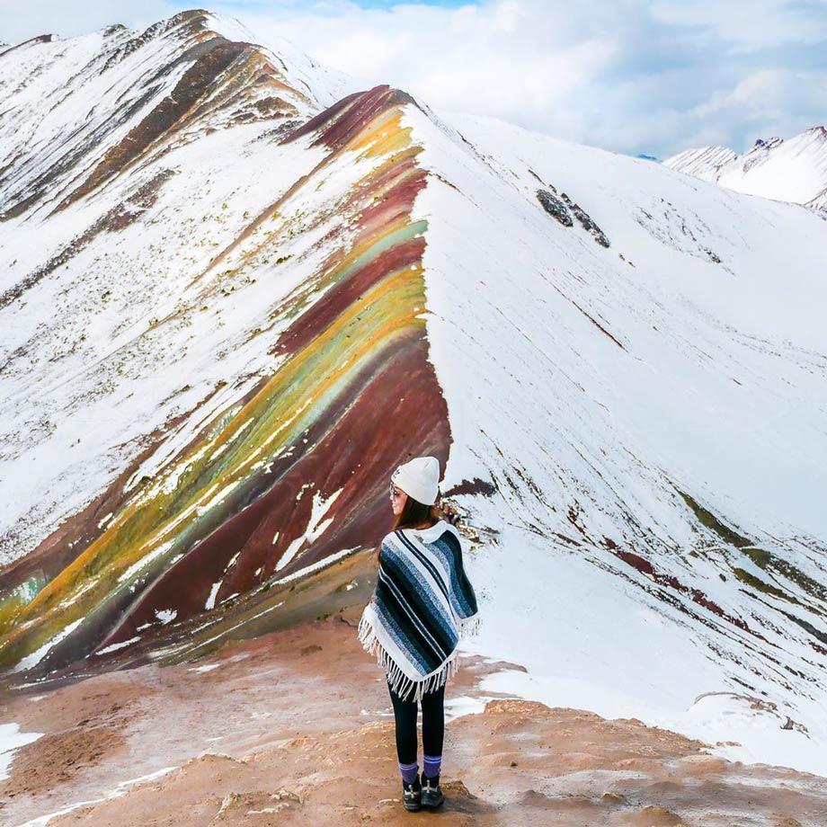 The Rainbow Mountain was hidden under snow