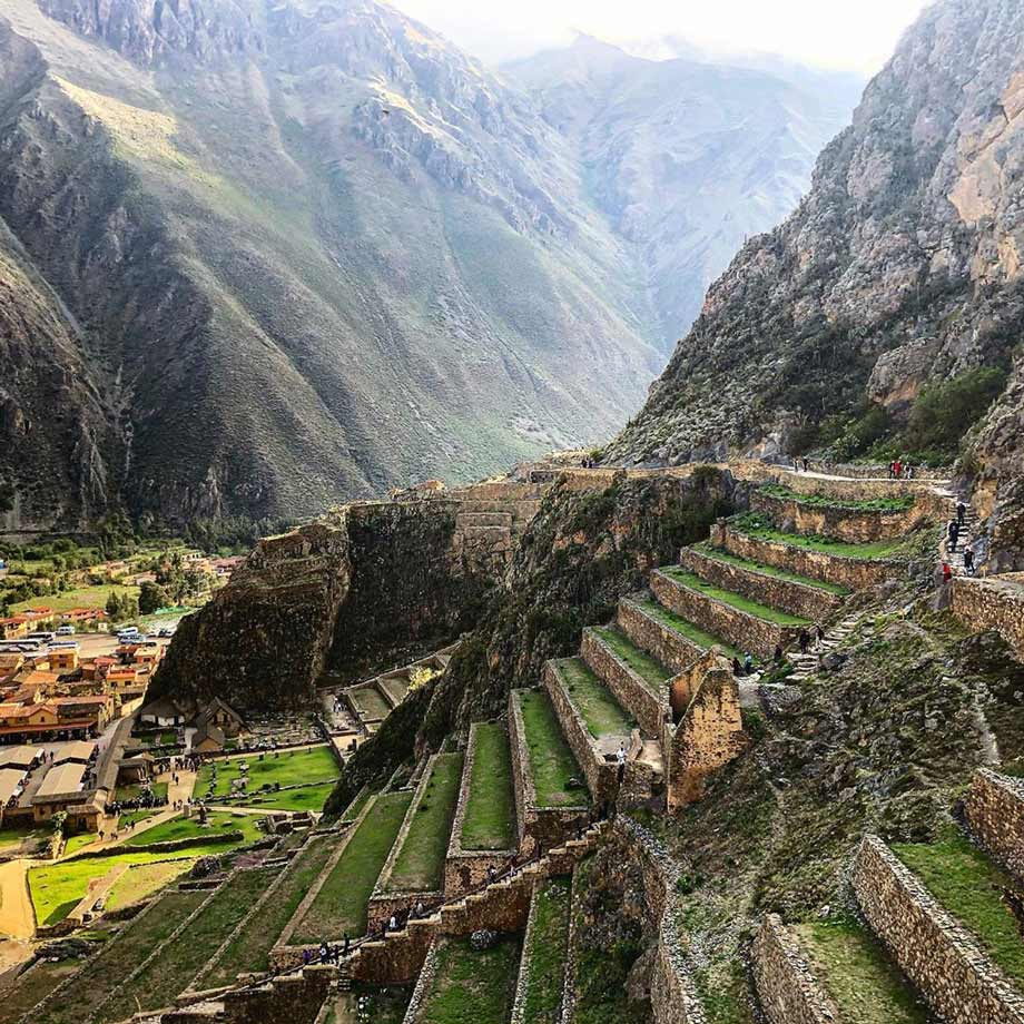 View of the archaeological site of Ollantaytambo, Sacred Valley