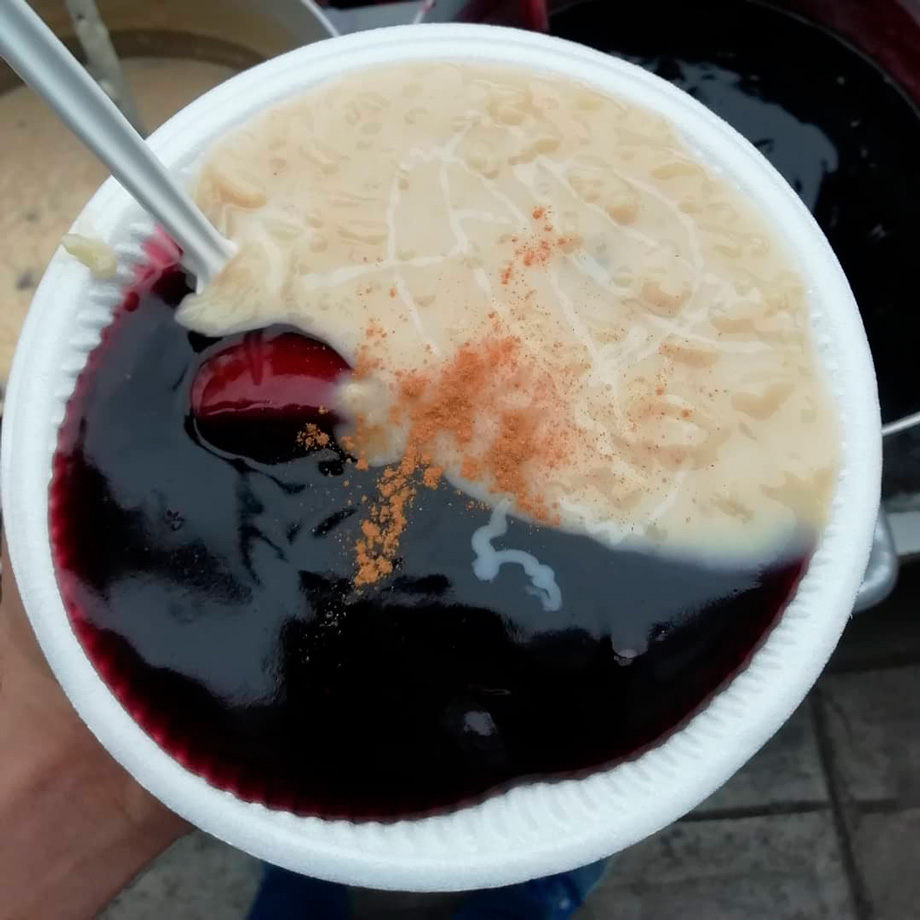 Arroz con Leche and Mazamorra, rice pudding with a purple corn thick jam-like substance