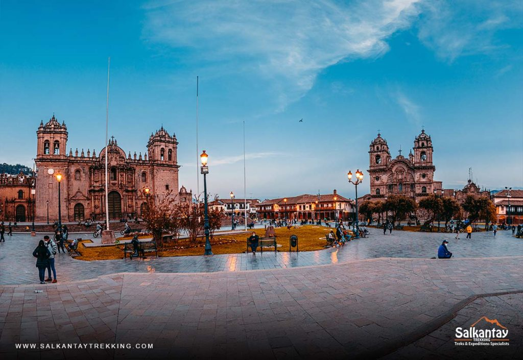 Panoramic view of the main square of Cusco