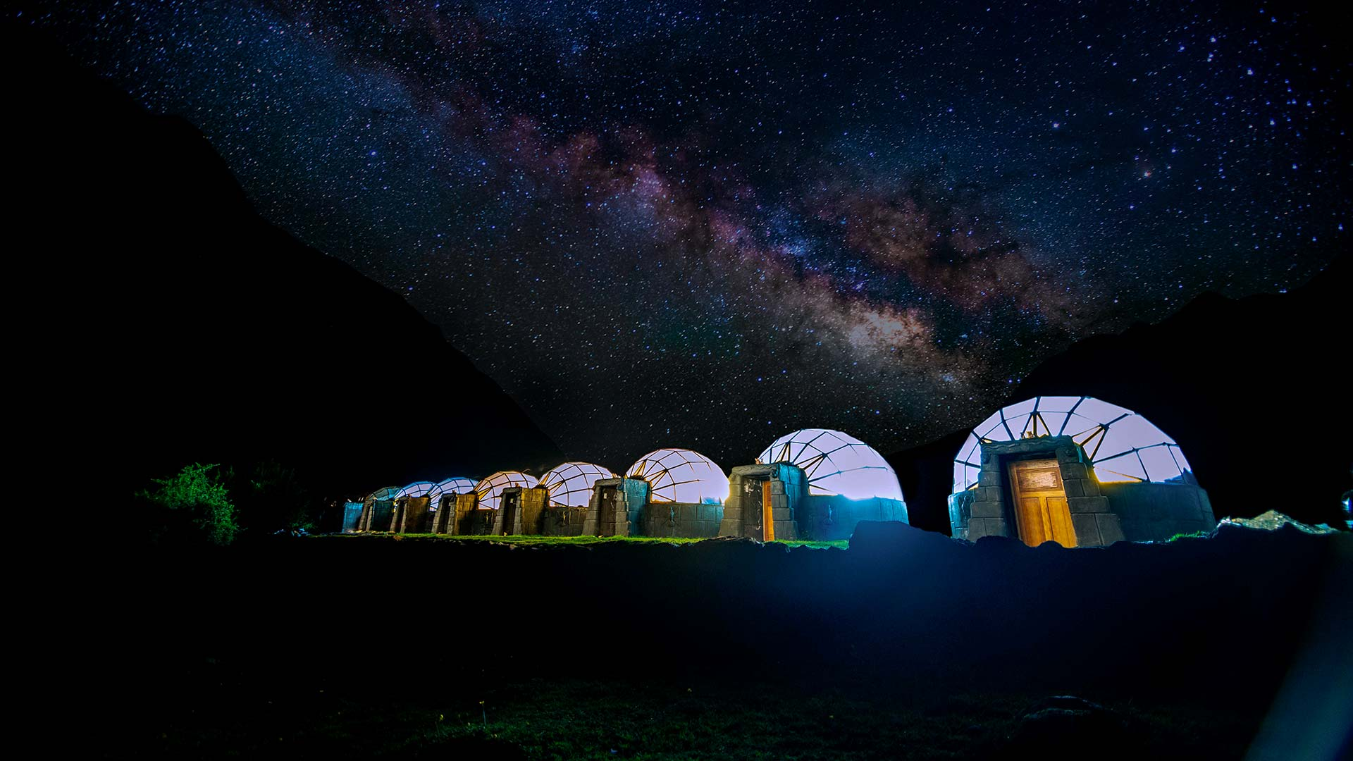 View of our Sky Camp and the sky full of stars at night in Soraypampa - Salkantay Trek to Machu Picchu