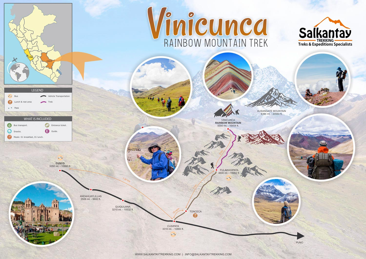 Rainbow Mountain map & Itinerary map
