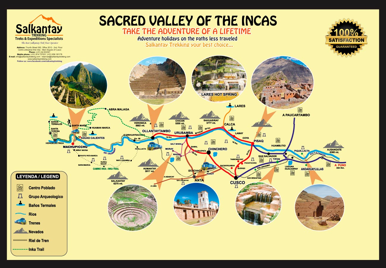 Sacred Valley of the Incas map and itinerary