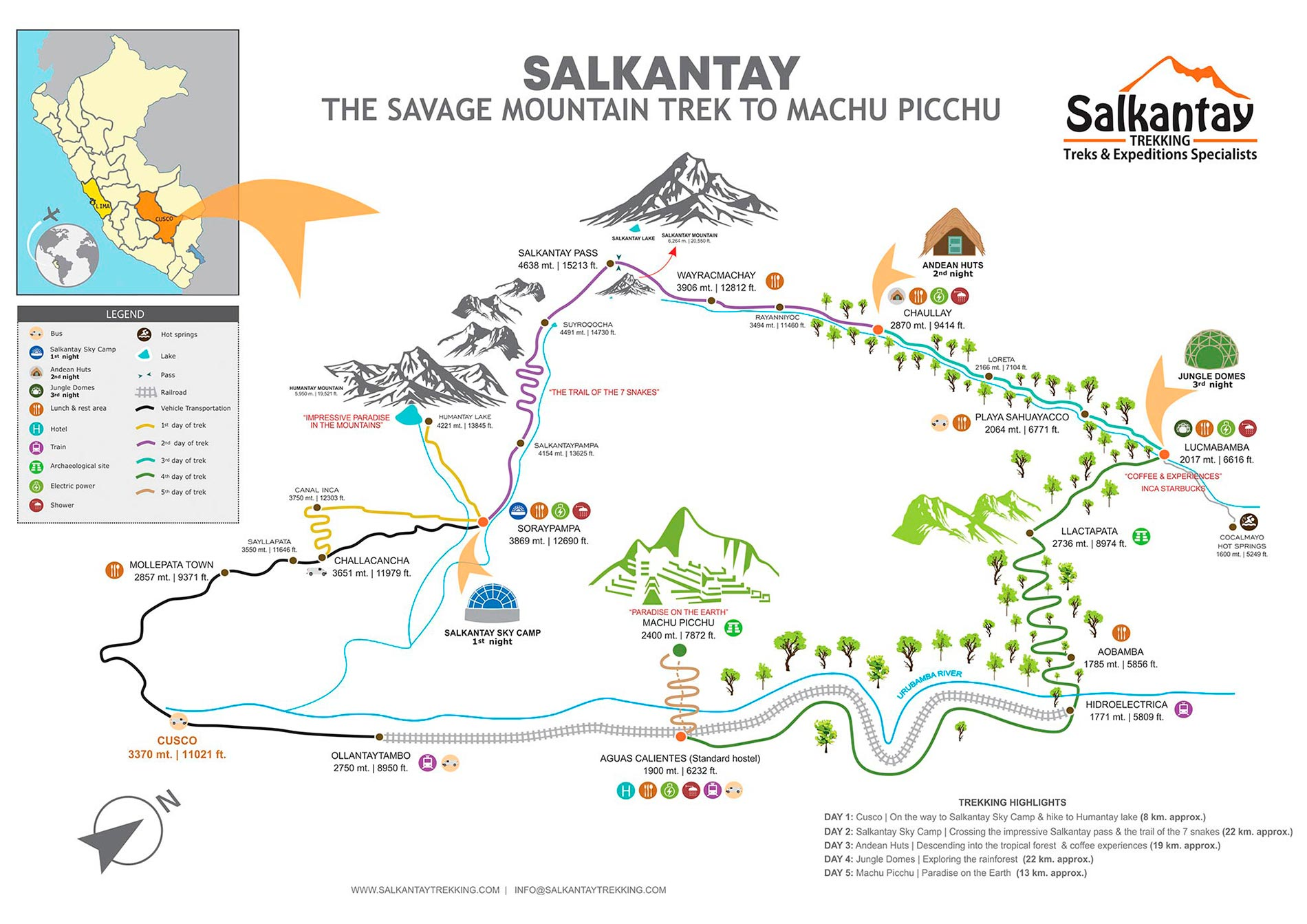 salkantay trek classic map and itinerary