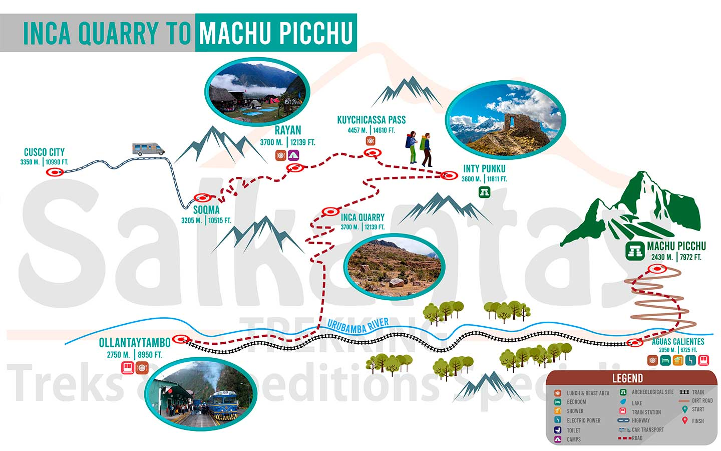 Map Inca Quarry to Machu Picchu