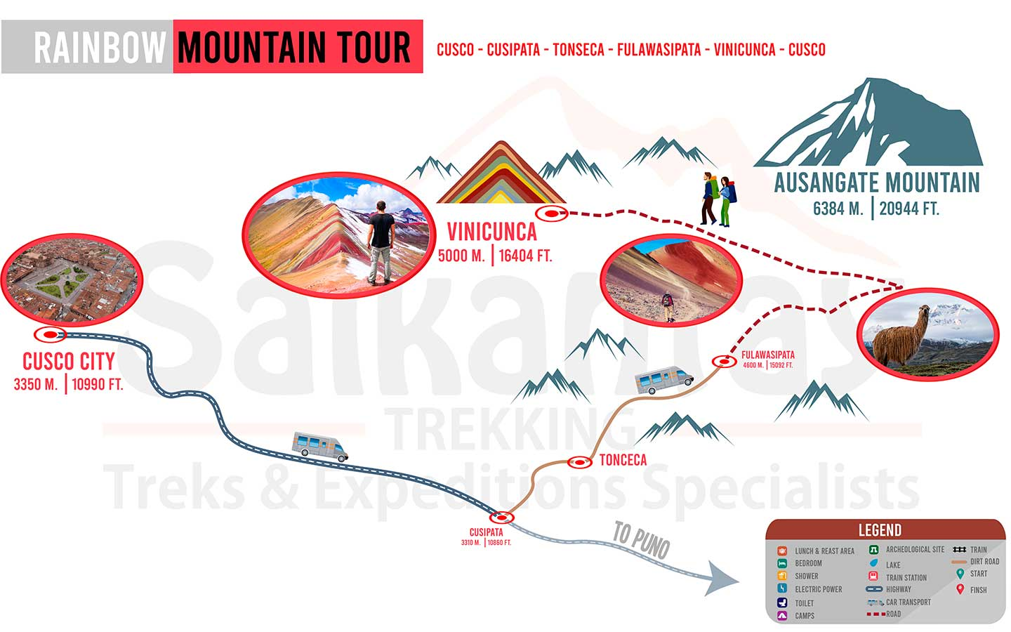 Map Rainbow Mountain full day trek